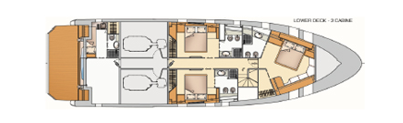 Versione con 3 cabine doppie o matrimoniali più 2 posti letto per equipaggio