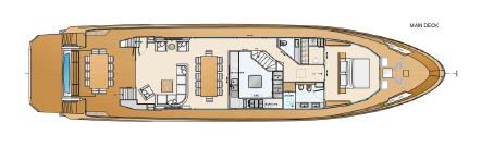 Salone sul piano di coperta, grande cucina ed una camera in posizione panoramica. 5 o 6 cabine (senza ascensore)