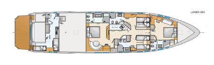 Salone sul piano di coperta, grande cucina ed una camera in posizione panoramica. 5 o 6 cabine (senza ascensore)101